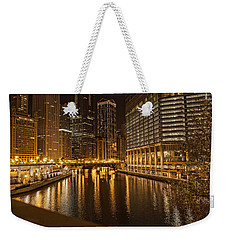 Chicago At Night Weekender Tote Bag by Daniel Sheldon