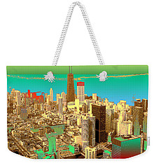 Chicago Pop Art In Blue Green Red Yellow Weekender Tote Bag