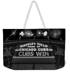Chicago Cubs Win Fireworks Night B W Weekender Tote Bag