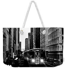 Chicago L Black And White Weekender Tote Bag by Benjamin Yeager