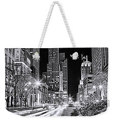 Chicago Michigan Avenue Light Streak Black And White Weekender Tote Bag