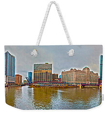Weekender Tote Bag featuring the photograph Chicago Skyline And Streets by Alex Grichenko