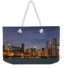 Weekender Tote Bag featuring the photograph Chicago Skyline At Night Color Panoramic by Adam Romanowicz