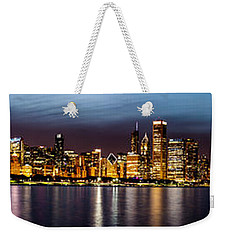 Chicago Skyline At Night Panoramic Weekender Tote Bag