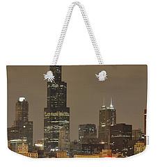 Chicago Skyline At Night Weekender Tote Bag by Sebastian Musial