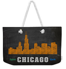 Chicago Skyline Chalkboard Chalk Art Weekender Tote Bag by Design Turnpike