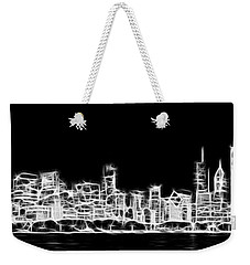 Chicago Skyline Fractal Black And White Weekender Tote Bag by Adam Romanowicz