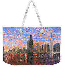 Chicago Skyline - Lake Michigan Weekender Tote Bag by Mike Rabe