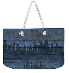 Chicago Skyline Silhouette Distressed On Worn Peeling Wood Weekender Tote Bag by Design Turnpike