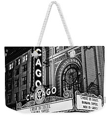 Chicago Theatre Marquee Sign At Night Black And White Weekender Tote Bag