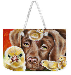 Weekender Tote Bag featuring the painting Chick Sitting Afternoon by Hiroko Sakai