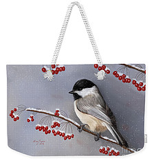 Chickadee And Berries Weekender Tote Bag by Lena Auxier