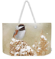 Chickadee And Falling Snow Weekender Tote Bag