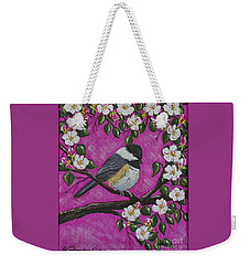 Chickadee In Apple Blossoms Weekender Tote Bag