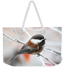 Weekender Tote Bag featuring the photograph Chickadee In Winter by Peggy Collins