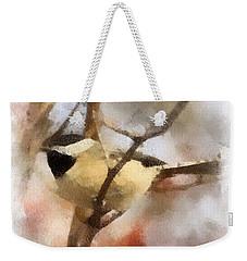 Weekender Tote Bag featuring the painting Chickadee Watercolor by Kerri Farley