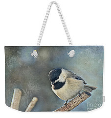 Chickadee With Texture Weekender Tote Bag by Debbie Portwood