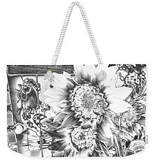 Weekender Tote Bag featuring the photograph Rooster And Chicken House Chromed by Belinda Lee