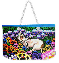 Chihuahua In Flowers Weekender Tote Bag by Genevieve Esson
