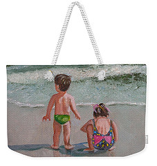 Children On The Beach Weekender Tote Bag