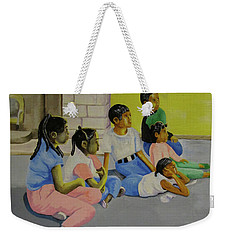 Weekender Tote Bag featuring the painting Children's Attention Span  by Thomas J Herring