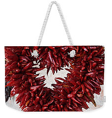 Weekender Tote Bag featuring the photograph Chili Pepper Heart by Kerri Mortenson