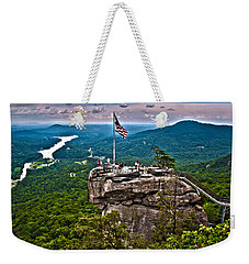 Weekender Tote Bag featuring the photograph Chimney Rock At Lake Lure by Alex Grichenko