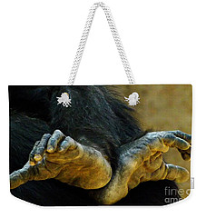 Chimpanzee Feet Weekender Tote Bag by Clare Bevan