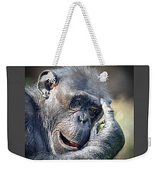 Weekender Tote Bag featuring the photograph Chimpanzee Thinking by Savannah Gibbs