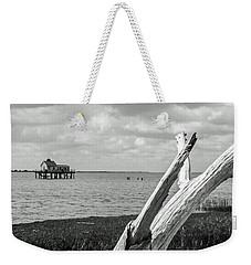 Chincoteague Oystershack Bw Vertical Weekender Tote Bag by Photographic Arts And Design Studio
