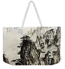 Weekender Tote Bag featuring the painting Chinese Mountains With Poem In Ink Brush Calligraphy Of Love Poem by Peter v Quenter