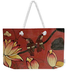 Chinese Red Lacquer Chest Detail Weekender Tote Bag