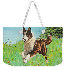 Chocolate Border Collie In Meadow Weekender Tote Bag