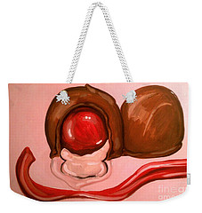 Weekender Tote Bag featuring the painting Chocolate Cherries by Marisela Mungia