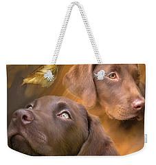 Weekender Tote Bag featuring the mixed media Chocolate Lab by Carol Cavalaris