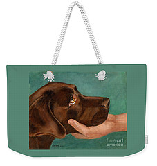 Chocolate Lab Head In Hand Weekender Tote Bag