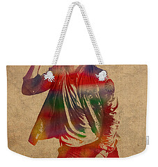 Chris Martin Coldplay Watercolor Portrait On Worn Distressed Canvas Weekender Tote Bag by Design Turnpike