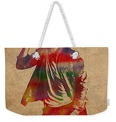 Chris Martin Coldplay Watercolor Portrait On Worn Distressed Canvas Weekender Tote Bag