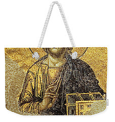 Christ Pantocrator-detail Of Deesis Mosaic Hagia Sophia-judgement Day Weekender Tote Bag