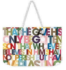 Christian Art- John 3 16 Versevisions Poster Weekender Tote Bag by Mark Lawrence