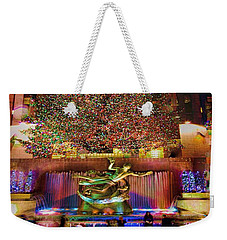 Weekender Tote Bag featuring the photograph Christmas At The Rock by Chris Lord