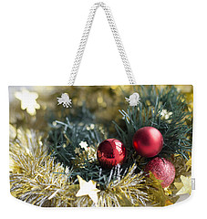 Weekender Tote Bag featuring the photograph Christmas Baubles by Jocelyn Friis