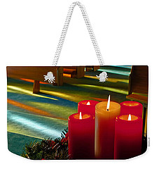 Weekender Tote Bag featuring the photograph Christmas Candles At Church Art Prints by Valerie Garner