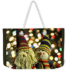 Weekender Tote Bag featuring the photograph Christmas Candlestick Buddies by Diane E Berry
