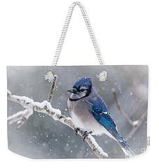 Christmas Card Bluejay Weekender Tote Bag by Cheryl Baxter