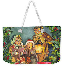 Weekender Tote Bag featuring the painting Christmas Carolers Merry Christmas And Happy New Years by Carol Wisniewski