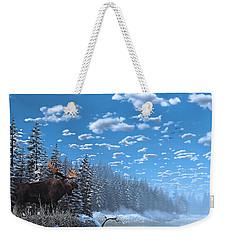 Christmas Day At Moose Lake Weekender Tote Bag by Ken Morris