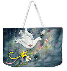 Christmas Dove In Flight Weekender Tote Bag