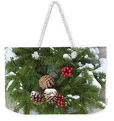 Christmas Evergreen Wreath Weekender Tote Bag