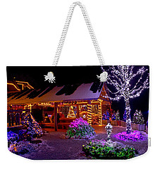 Christmas Fantasy Lodge And Tree Lights Weekender Tote Bag